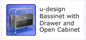 #18218 u-design Bassinet with Drawer and Open Cabinet